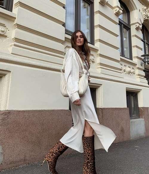 Модный образ с шелковой юбкой