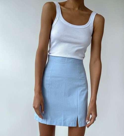 Мини юбка маленький разрез