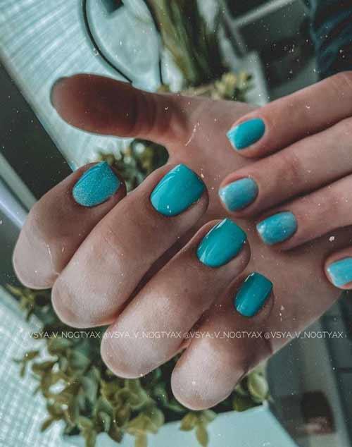 Бирюзовые ногти с блестками