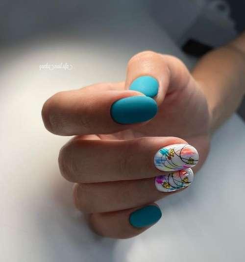 Бирюзовый дизайн с фольгой ногти