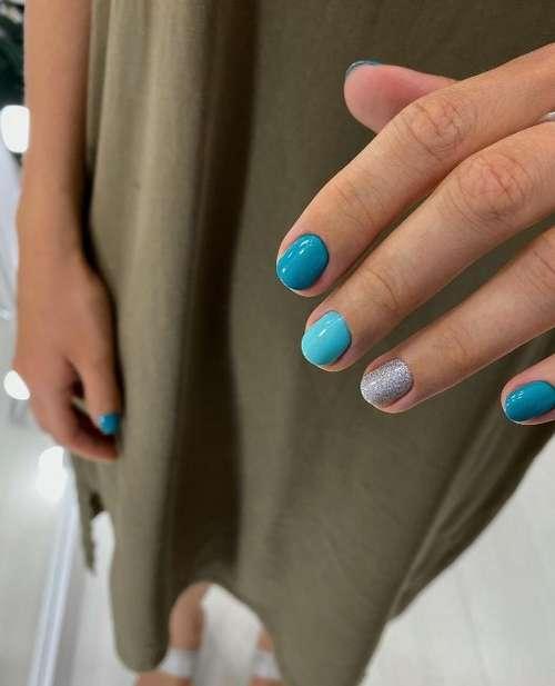 Короткие ногти бирюзовый маникюр
