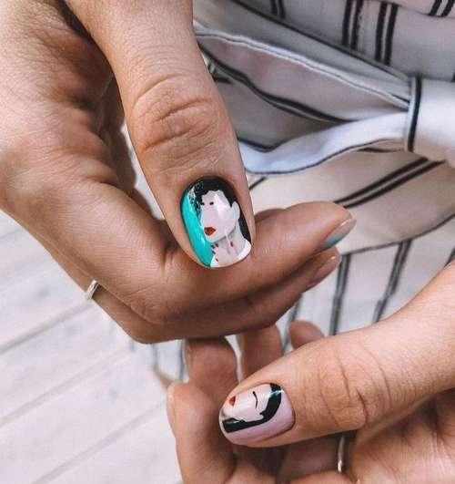 Бирюзовый дизайн ногти