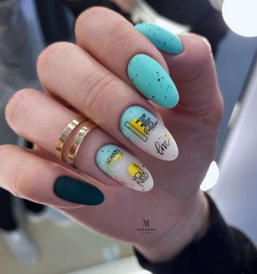 Матовые ногти цвет бирюза
