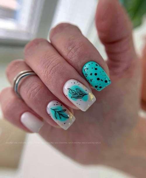 Бирюзовые ногти с дизайном