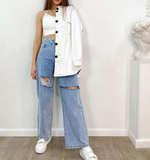 Широкие джинсы мода