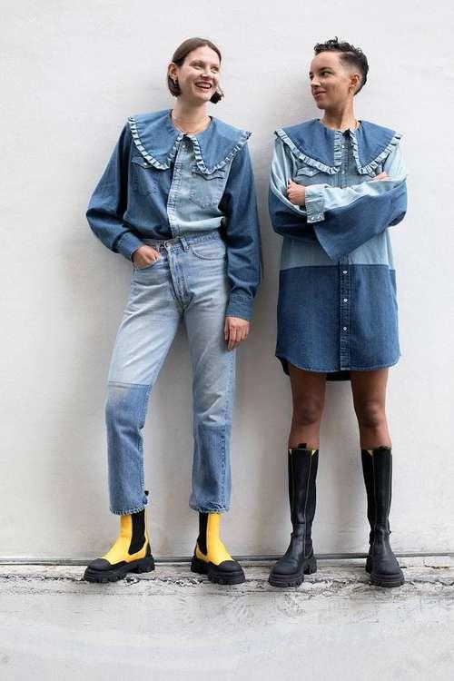 Джинсы мода пэчворк
