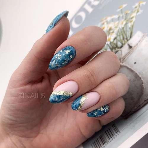 Маникюр море на ногтях
