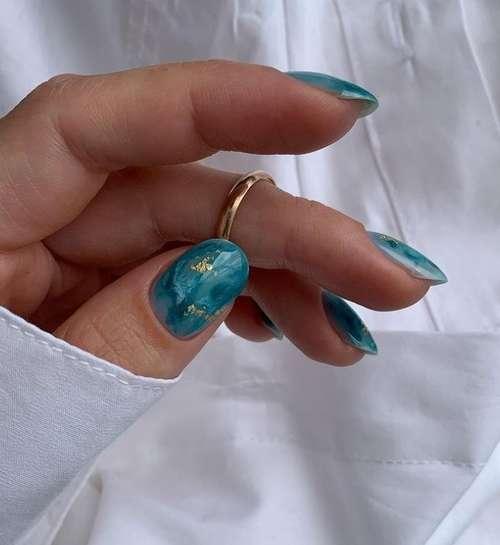 Текстуры ногти морской цвет