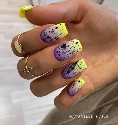 Яркие ногти квадрат