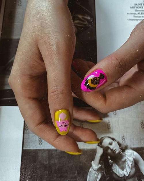 Яркий молодежный дизайн ногтей