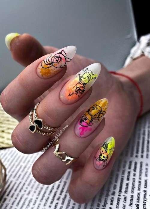 Яркие длинные ногти