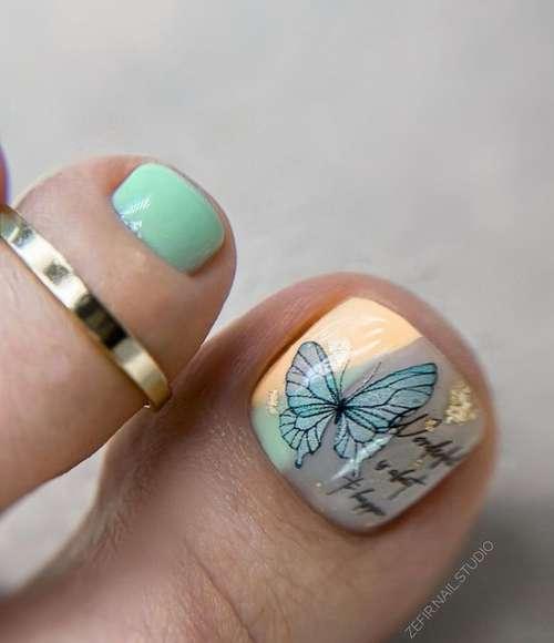 Дизайн с бабочкой педикюр