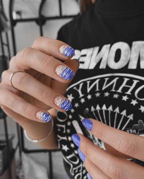 Стемпинг лунный дизайн ногтей