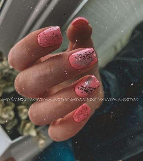 Блестящие листья на ногтях