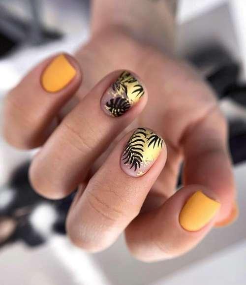 Черные листья на ногтях