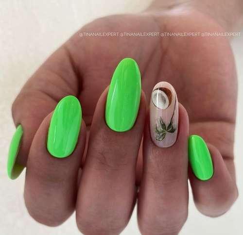 Зеленый маникюр с листочками