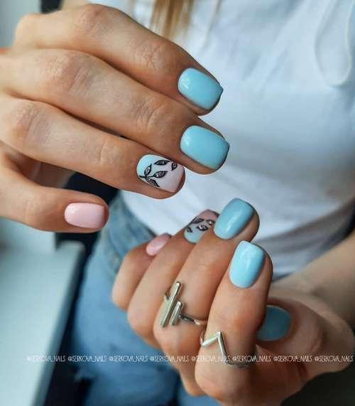 Листья блестками на ногтях