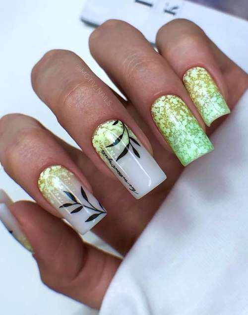 Маникюр ногти золото