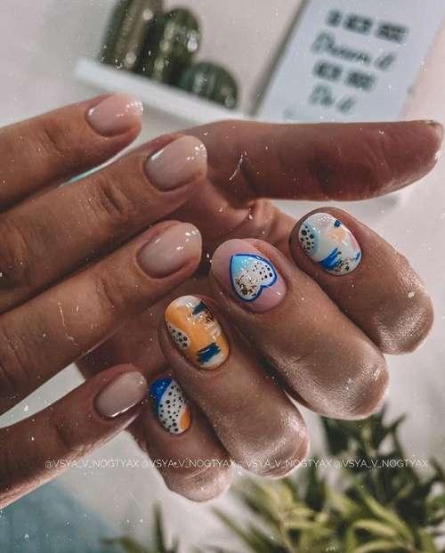 Короткие ногти дизайн с золотом