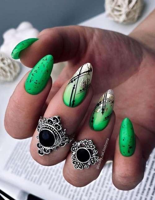Зеленые ногти с золотом