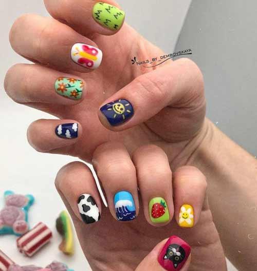 Короткие ногти с разным дизайном