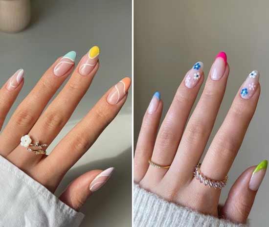 Френч-маникюр с разным дизайном ногтей