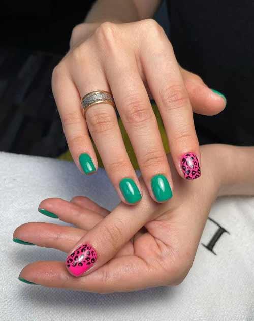 Двухцветный с рисунком дизайн ногтей