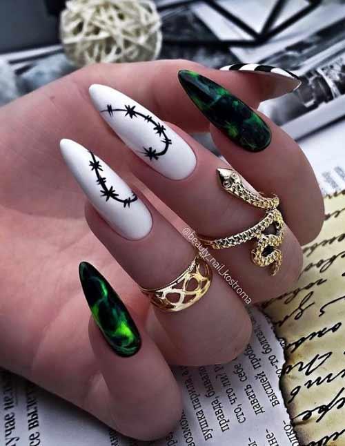 Темно-зеленый маникюр миндаль