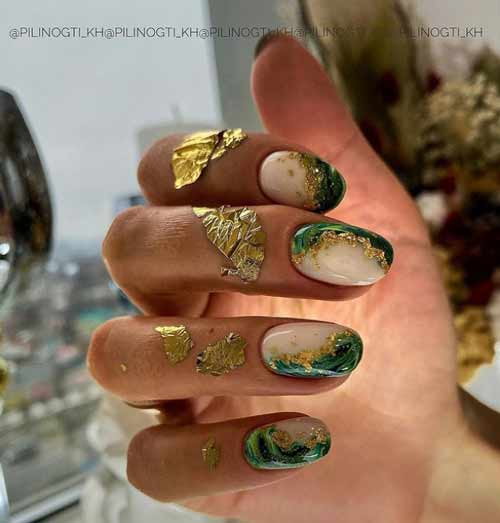 Текстуры изумруд на ногтях