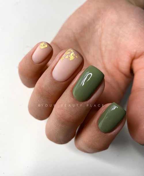 Темно-зеленый маникюр на короткие ногти