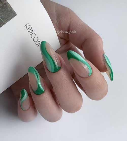 Длинные ногти зеленый маникюр