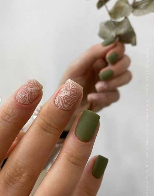 Матовый зеленый с рисунком