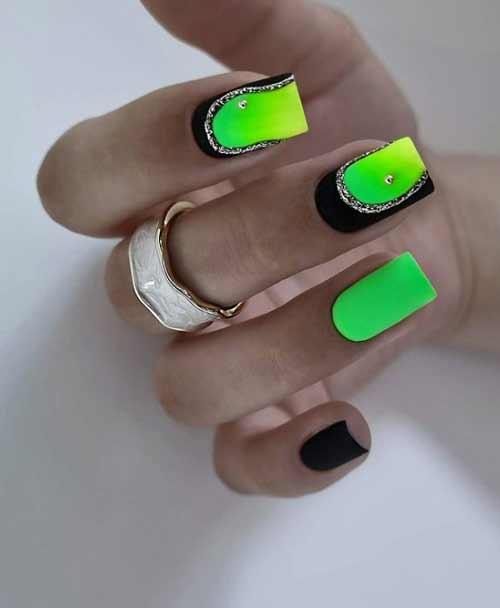 Черный неоновый зеленый и золото маникюр