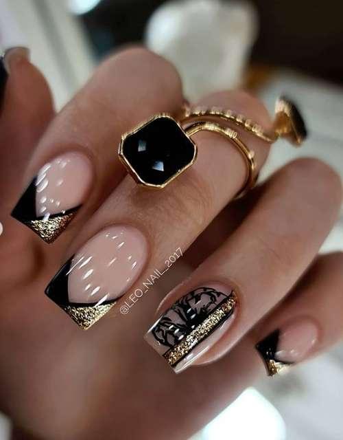 Черный френч с золотыми блестками