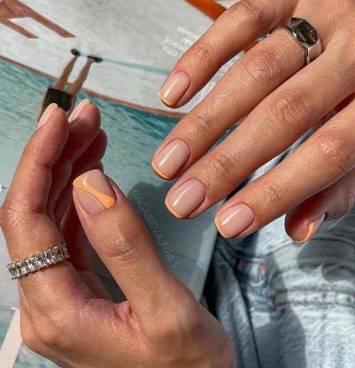 Френч квадратные короткие ногти