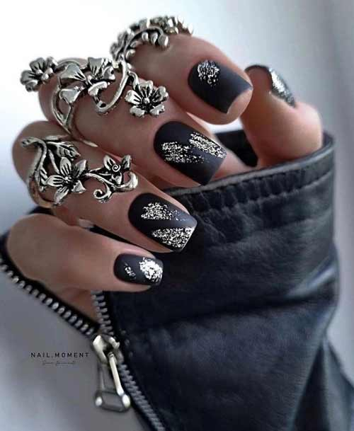 Черный с серебром ногти короткие квадрат