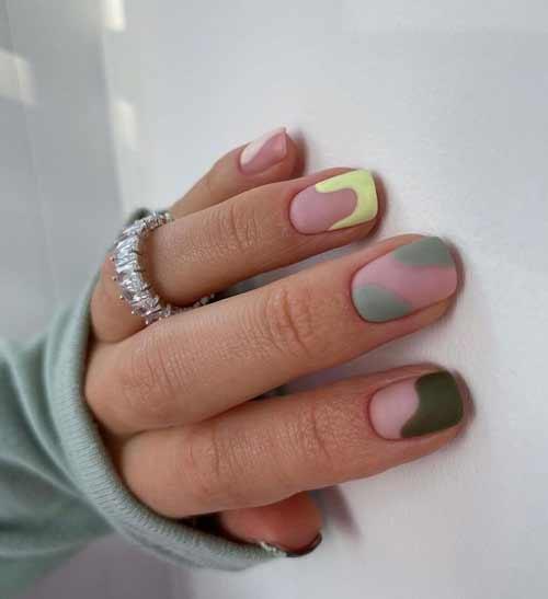 Мягкий квадрат ногти дизайн