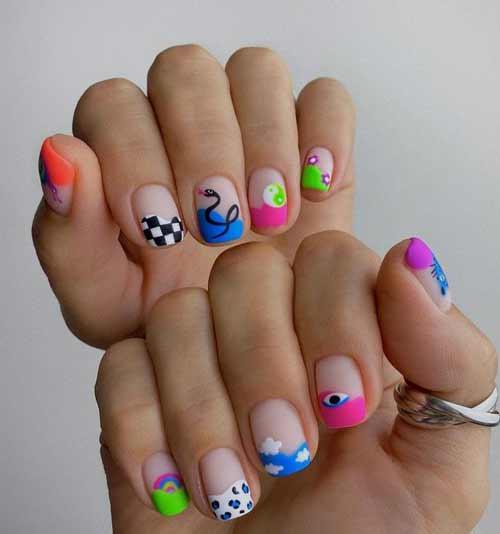 Короткие квадратные ногти с дизайном в молодежном стиле