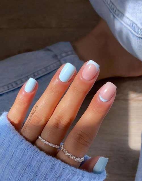 Голубой маникюр короткие ногти квадрат