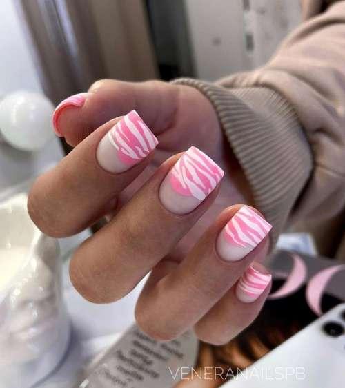 Розовая зебра ногти маникюр