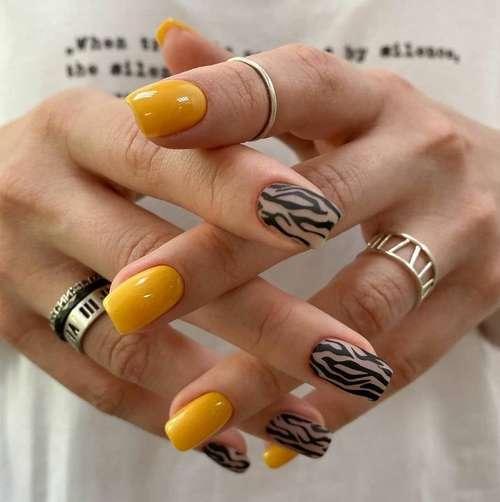 Зебра рисунок ногти