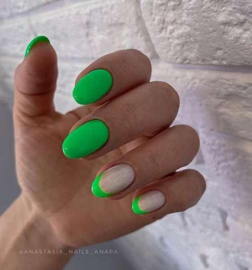 Зеленый френч ногти