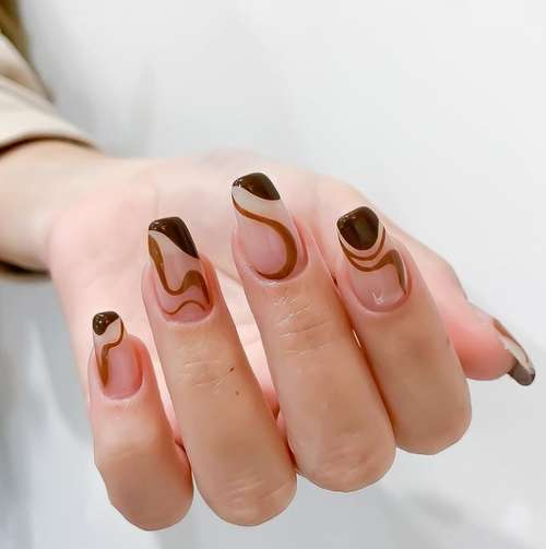 Френч осень коричневый цвет