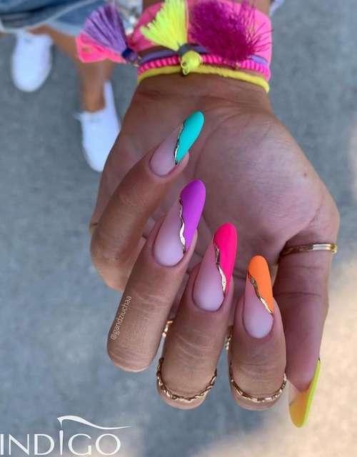 Неон ногти дизайн