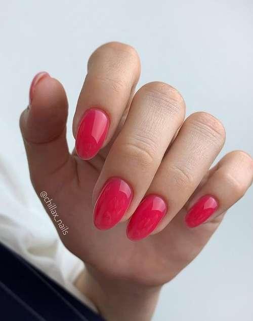 Красная цветная база ногти