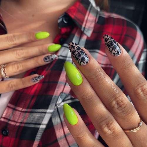 Зеленый неон ногти