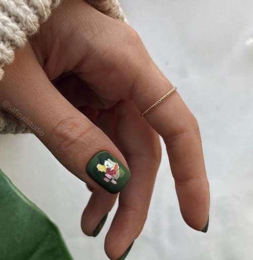 Зеленые ногти мазки дизайн