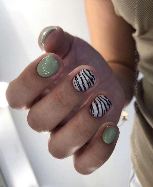 Маникюр на короткие ногти с зеброй