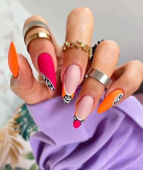 Длинные ногти с рисунком зебра