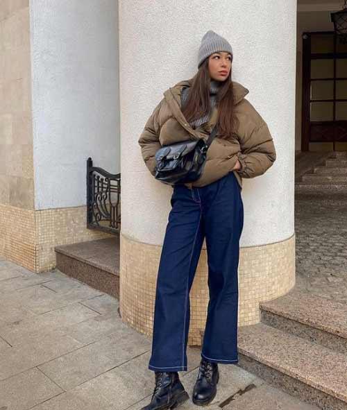 Модный короткий женский пуховик